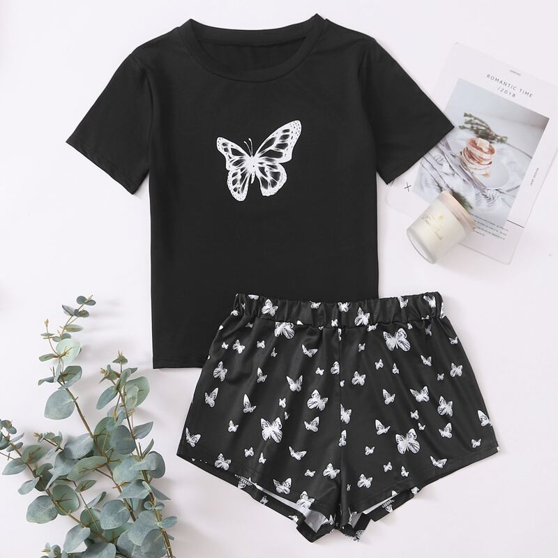 Butterfly Print Round Neck PJ Set, Black