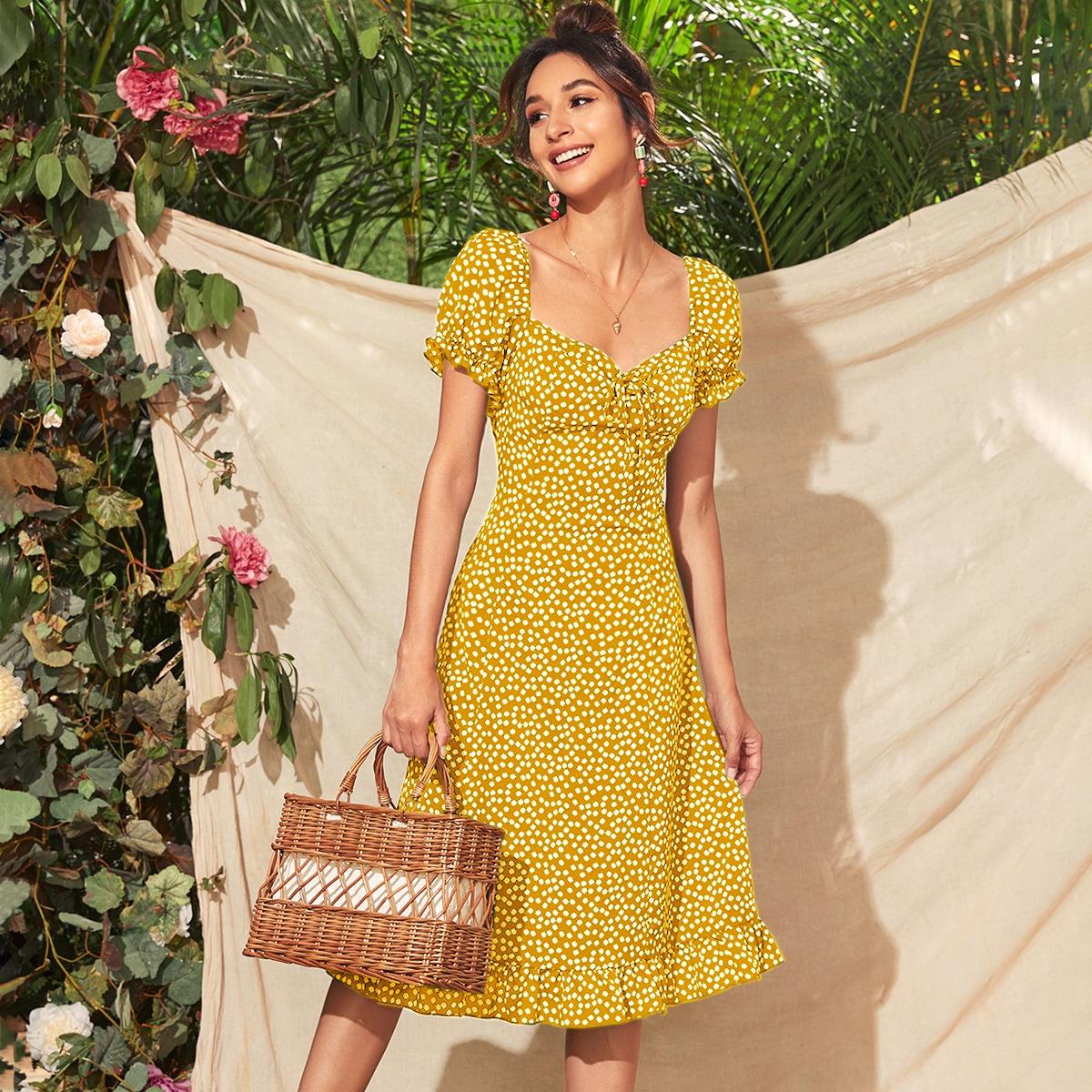 Платье с цветочным принтом, узлом и оборкой
