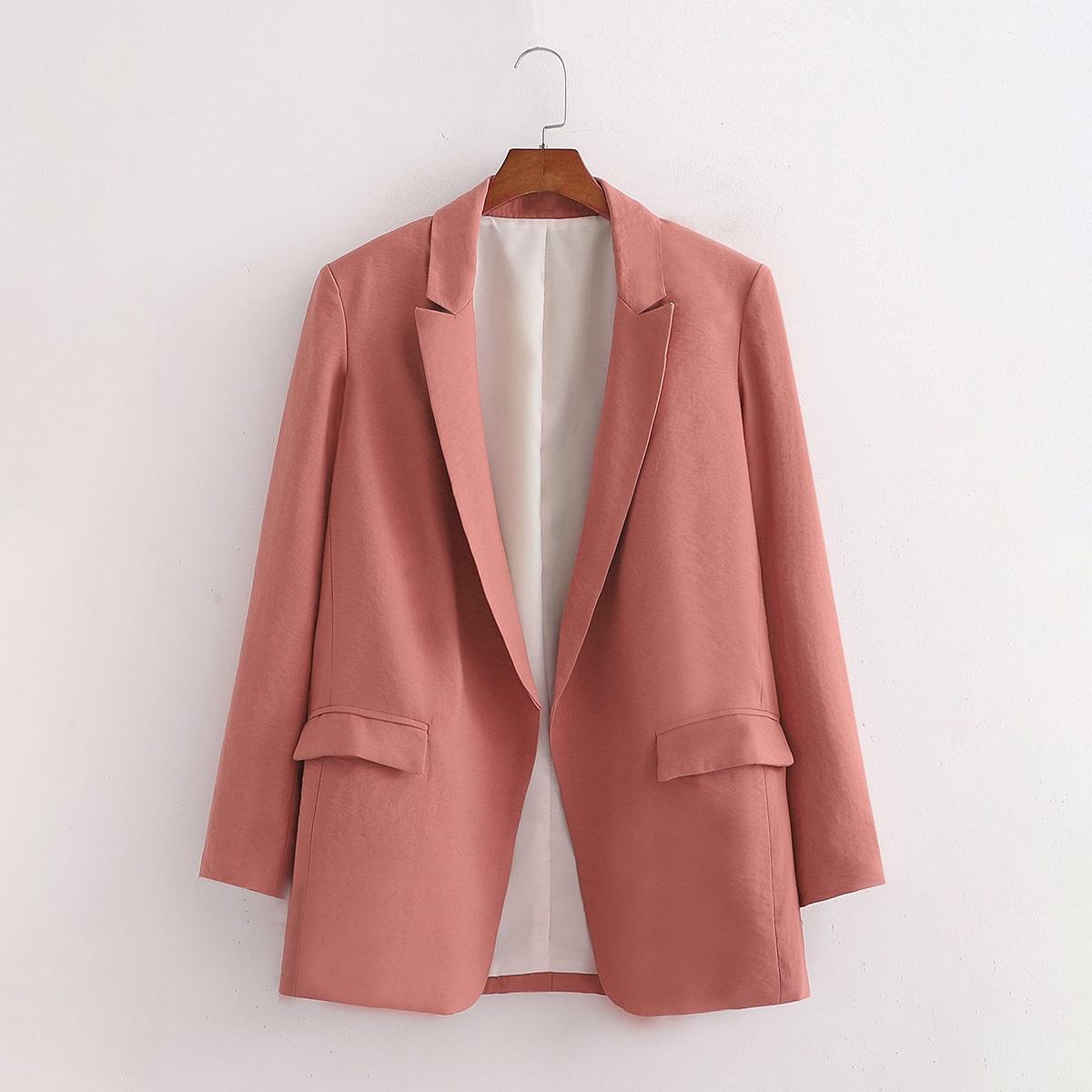 Duister roze Elegant Vlak Blazer