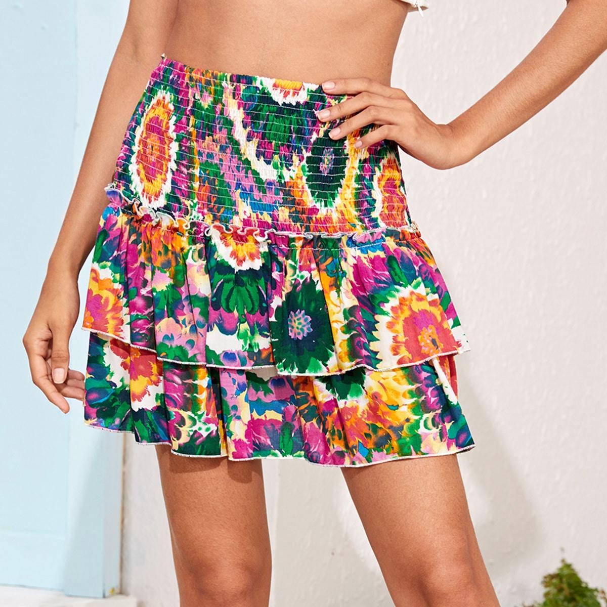 Разноцветная юбка с многослойными оборками