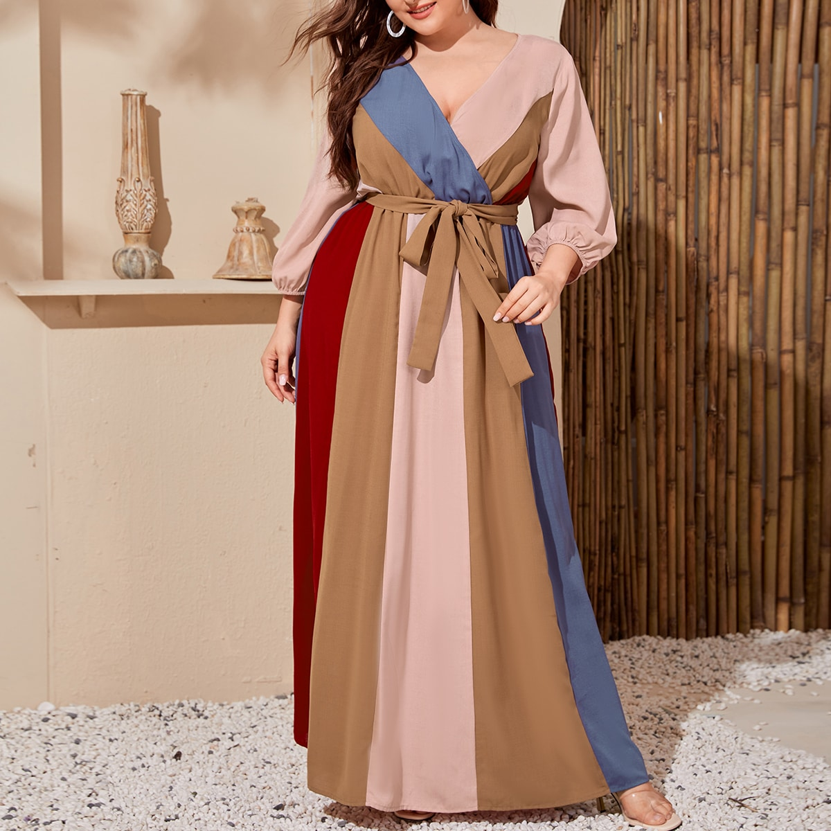 Plus Colorblock Belted Peasant Sleeve Maxi Dress