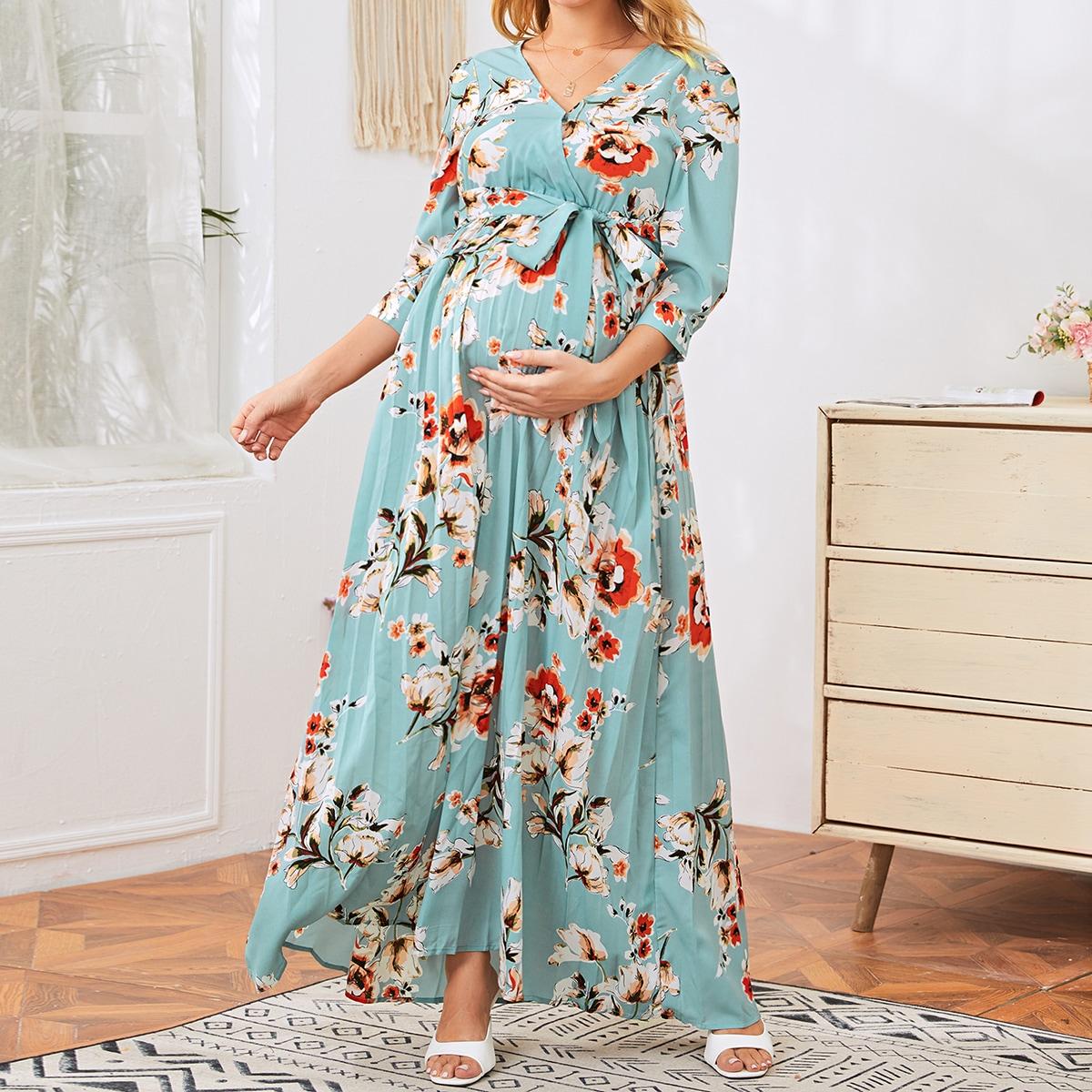 Плиссированное платье для беременных с цветочным принтом и поясом