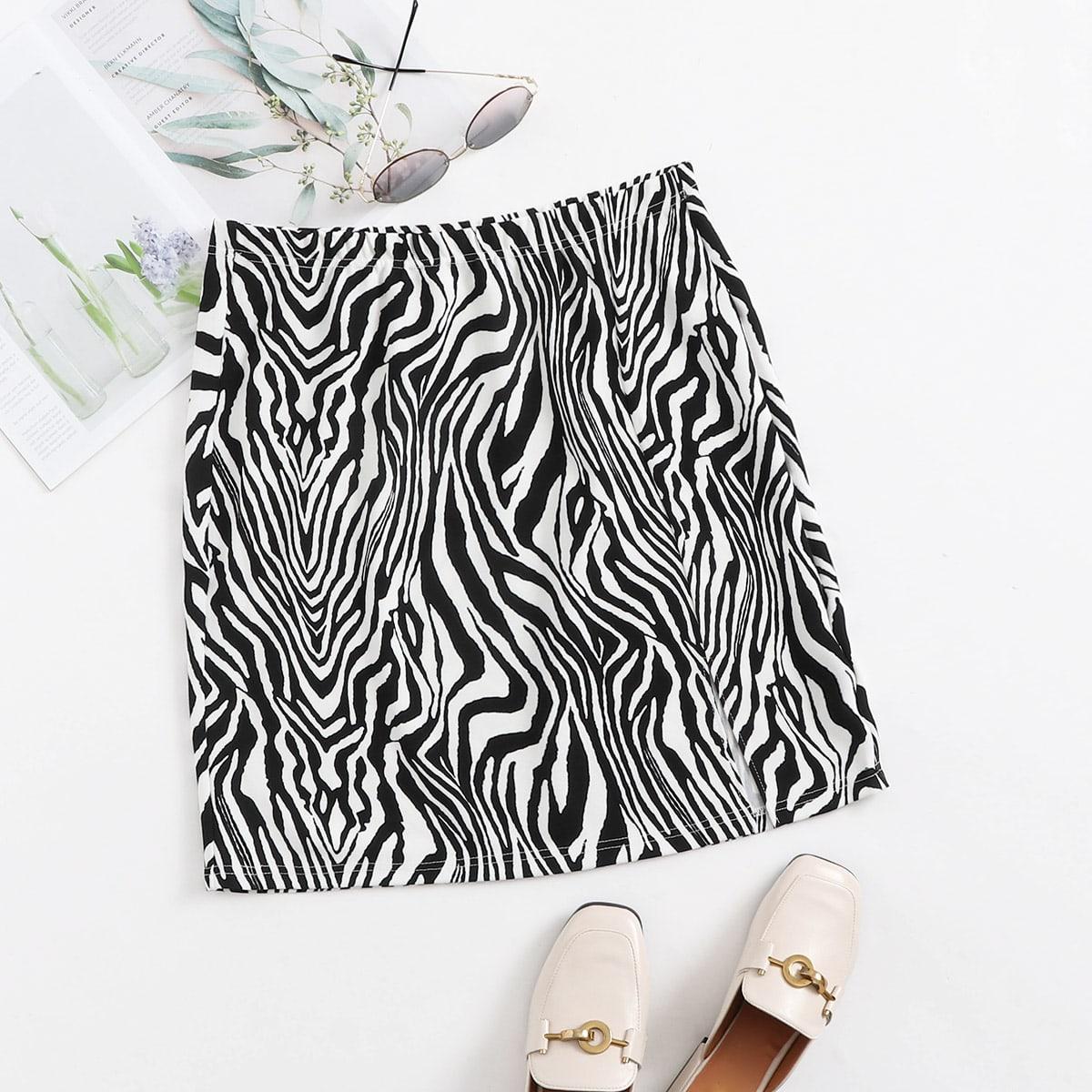 SHEIN Zwart & wit Casual Zebra print Grote maat rok Split