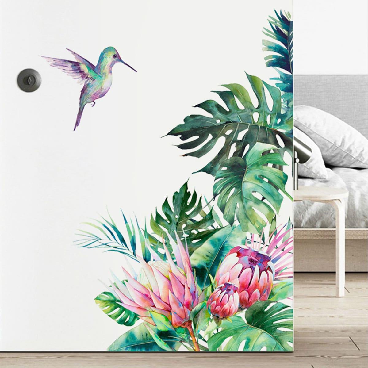 Наклейка на стену с принтом растений и птиц