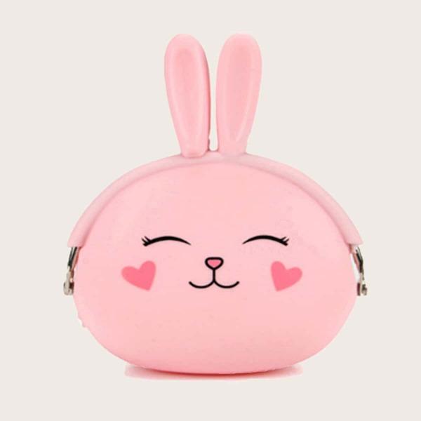 Cartoon Rabbit Design Purse, Pink