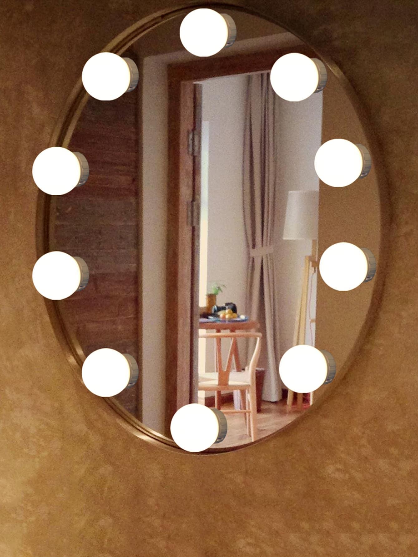 Luces de Espejo LED Bombilla de luz de Color Ajustable con Ventosa Bombilla de Maquillaje Regulable para Dormitorio y ba/ño Suszian Luz de Espejo