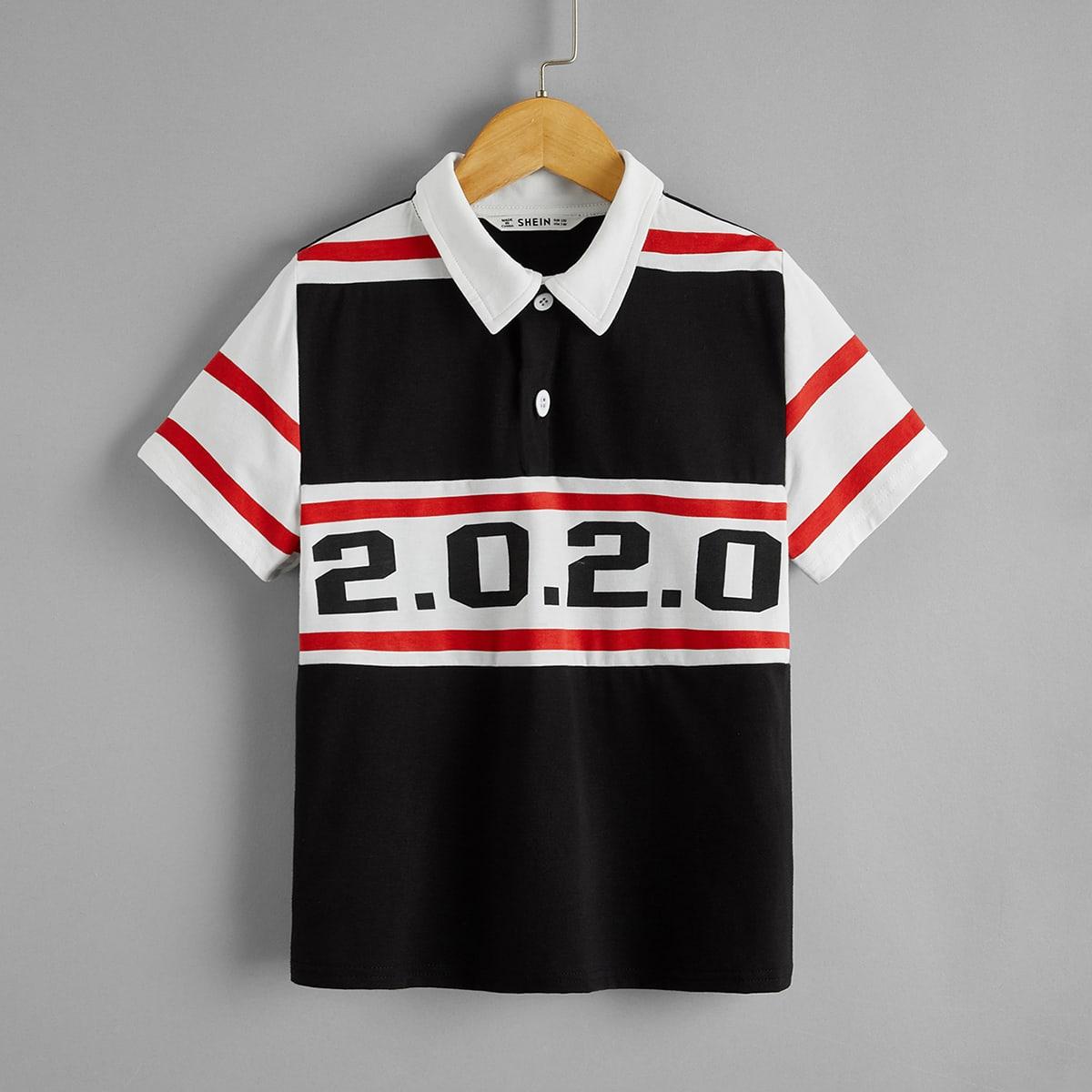 Контрастная рубашка-поло с принтом цифры для мальчиков