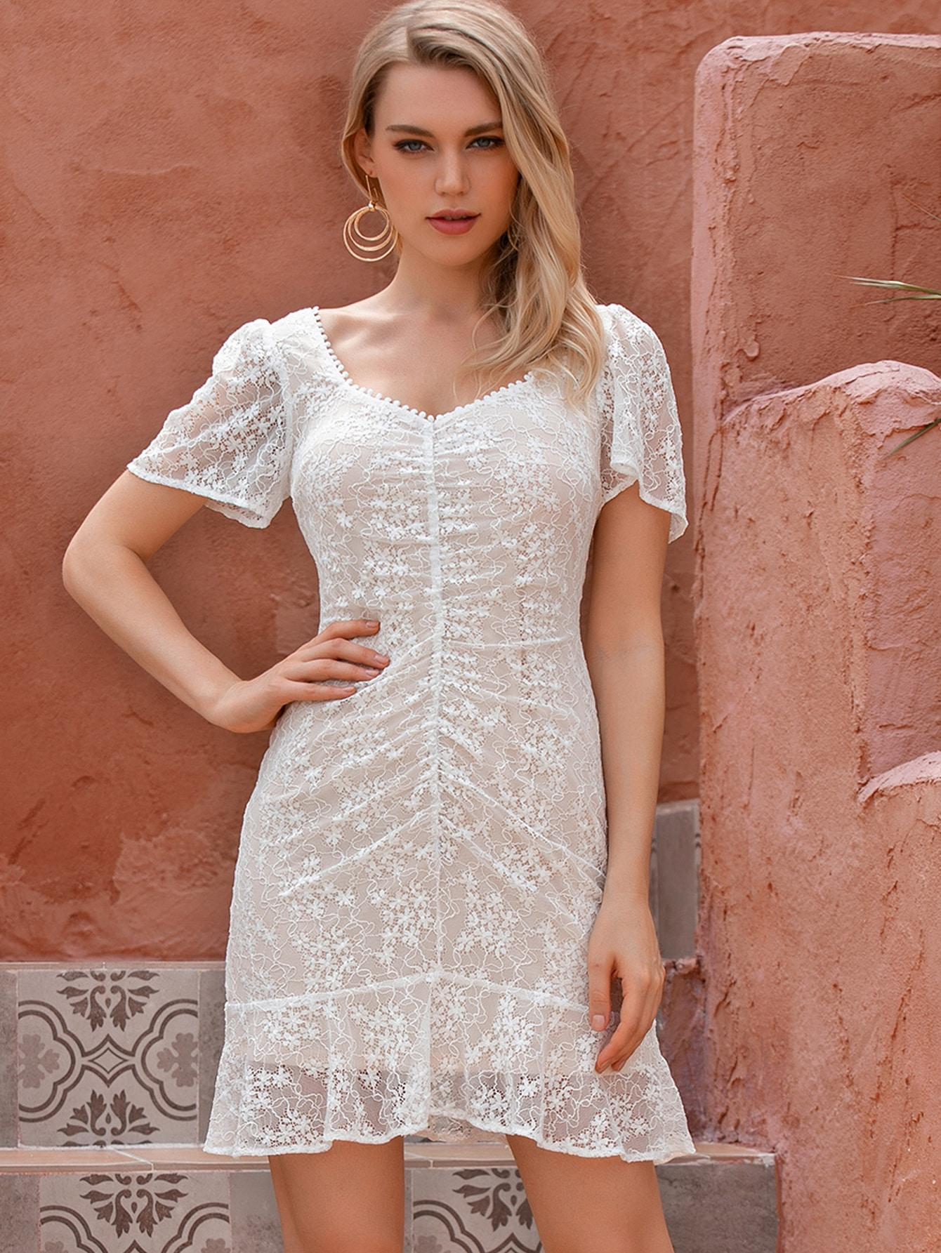 Ruffle Hem Sheer Lace Dress thumbnail