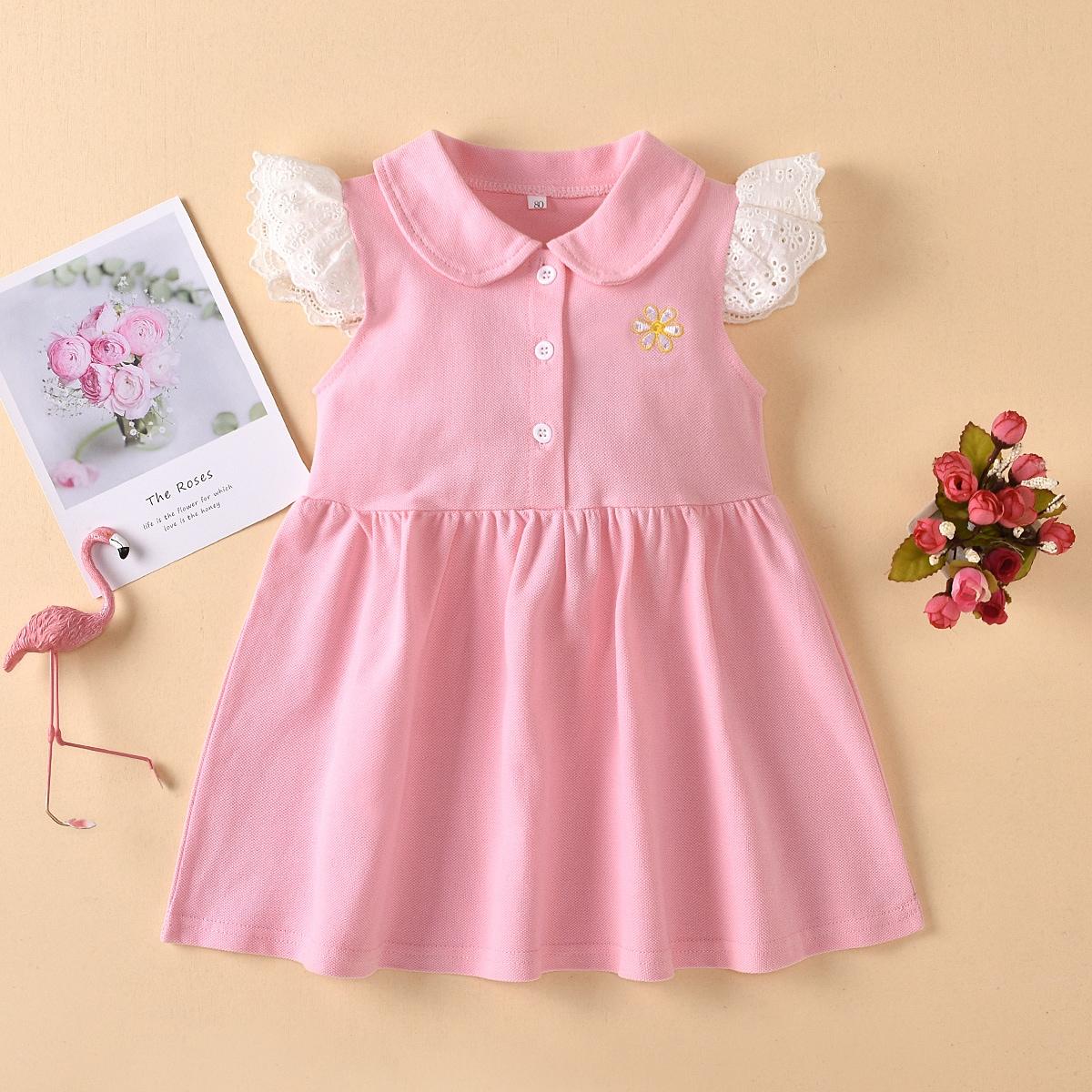 SHEIN Baby roos Schattig Bloemen Baby-jurk Borduurwerk
