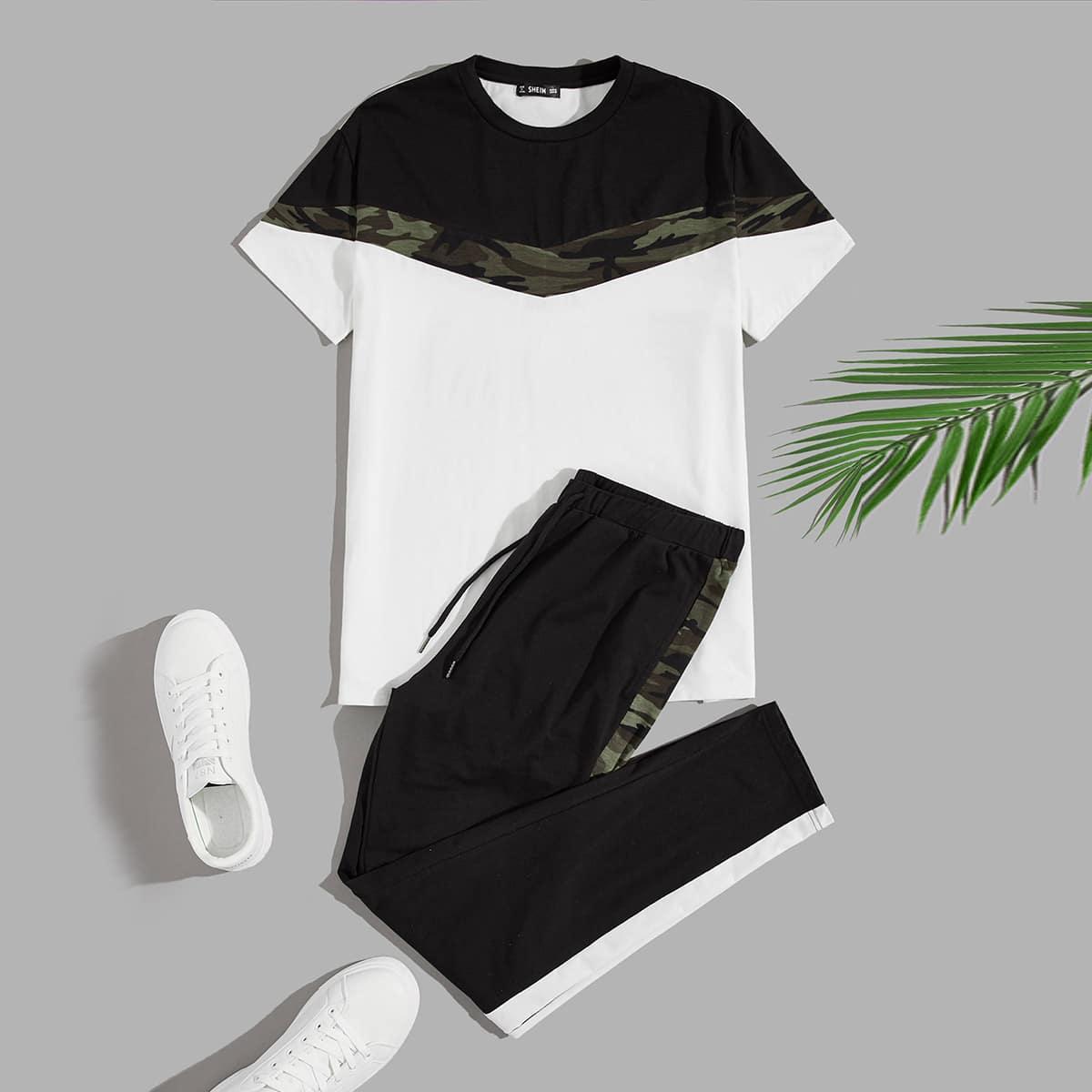 Мужские спортивные брюки и контрастная футболка