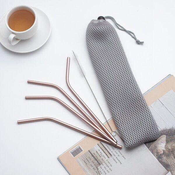 4pcs Straw & 1pc Brush & 1pc Storage Bag, Pink