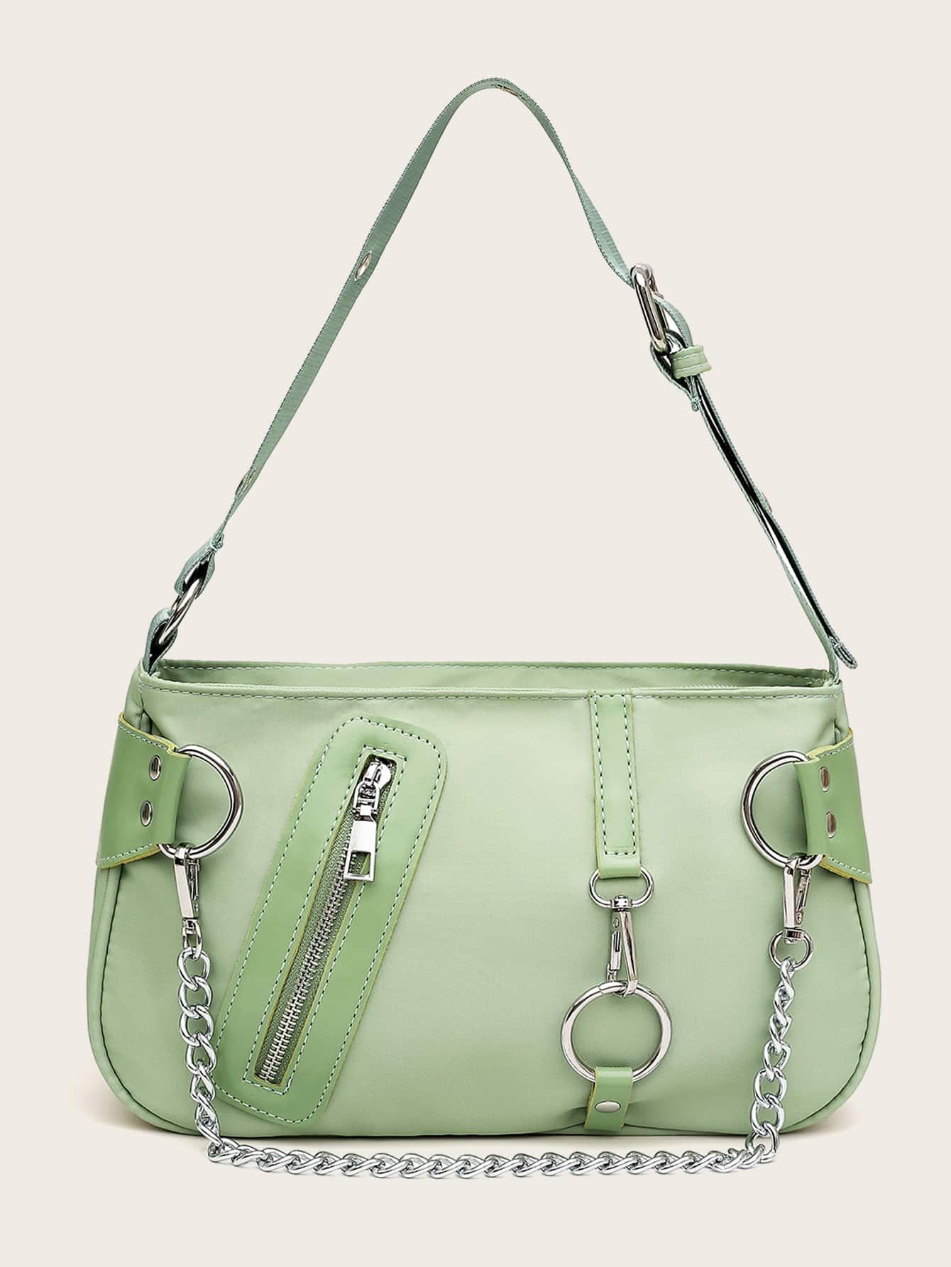 Минималистская сумка-багет с декором цепи1385