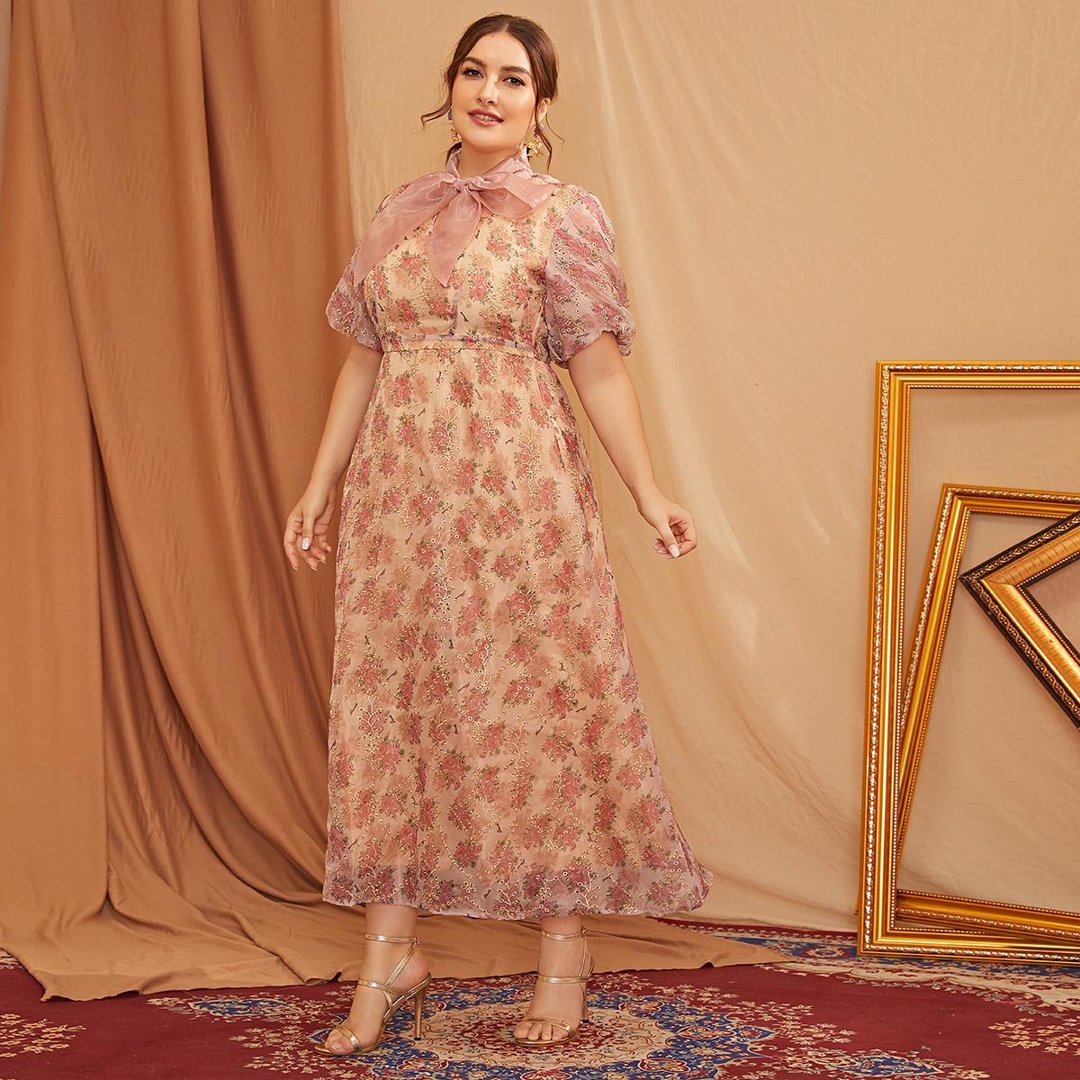 Сетчатое платье размера плюс с цветочным принтом и воротником-бантом