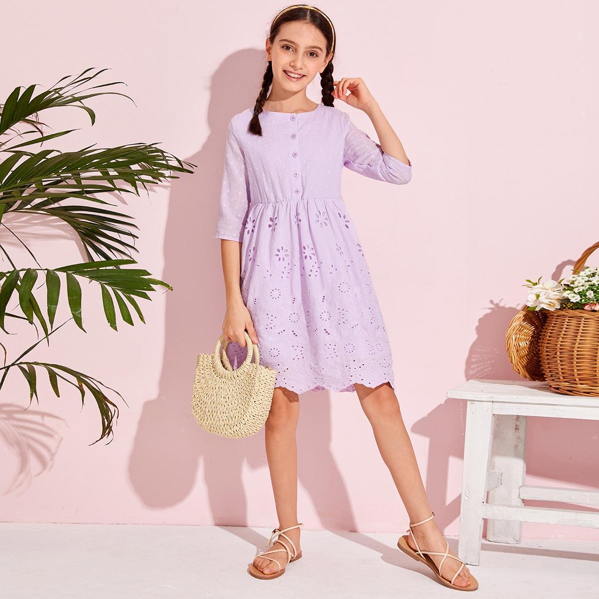 Платье с пуговицами для девочек