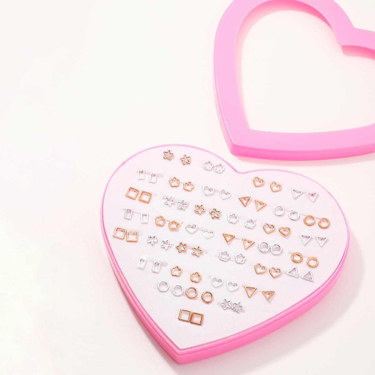 36 пар серьги-гвоздиви в форме сердечка для девочек