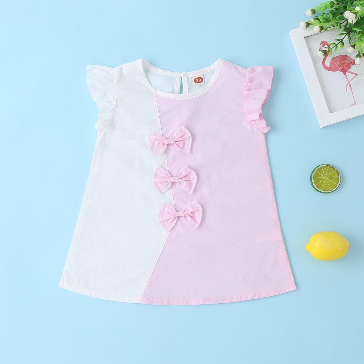 Двузцветное платье с бантом для девочек от SHEIN