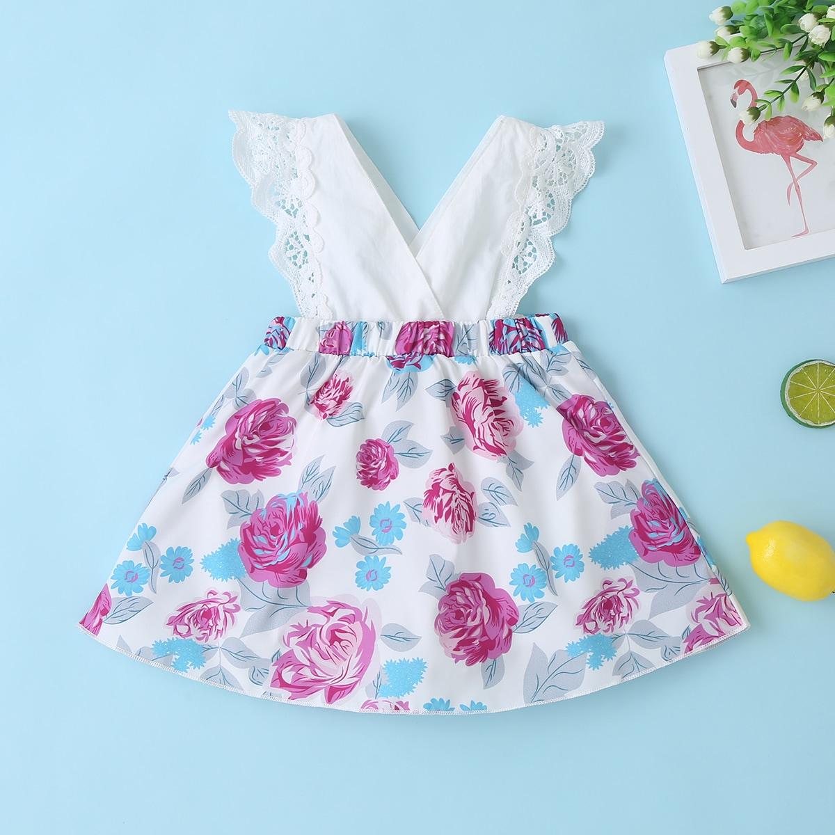 Платье-боди с кружевной отделкой и цветочным принтом для девочек от SHEIN