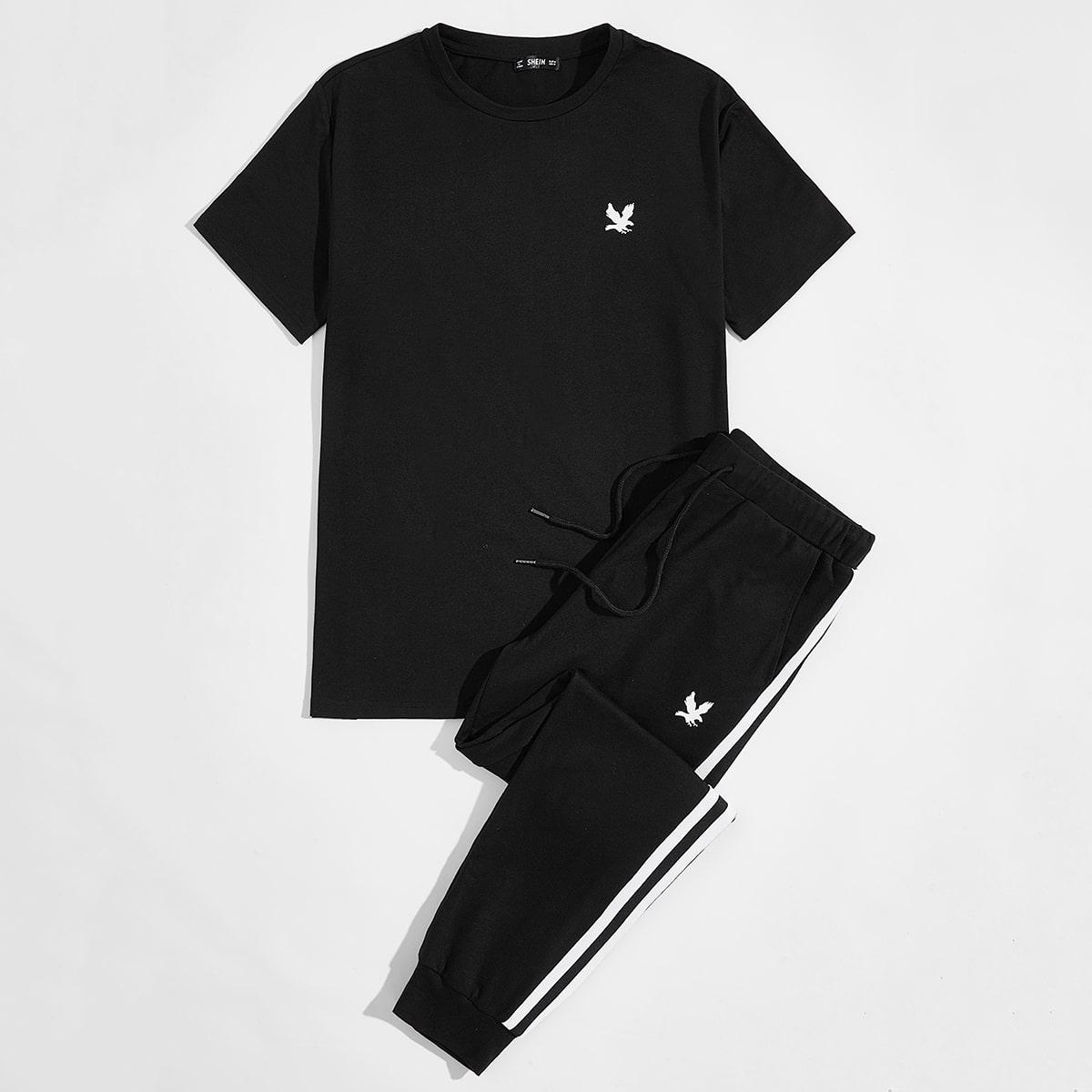 """Мужские спортивные брюки и футболка с принтом """"орел"""
