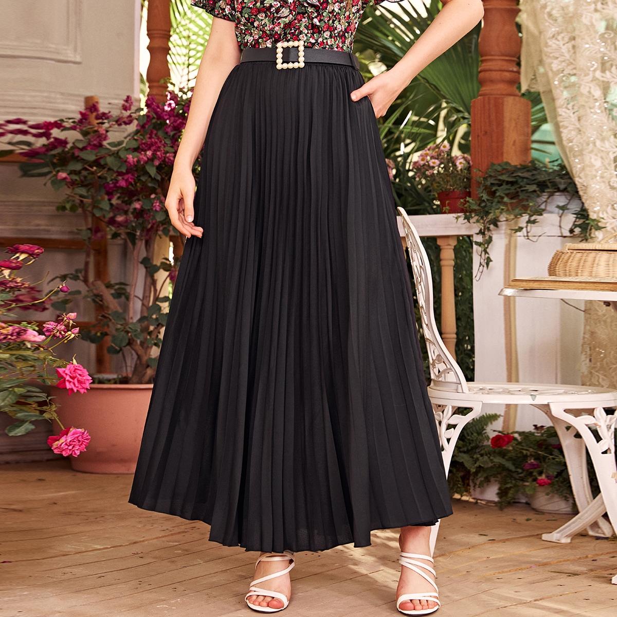 Однотонная плиссированная юбка с поясом