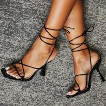 Toe Post Tie Leg Heeled Sandals