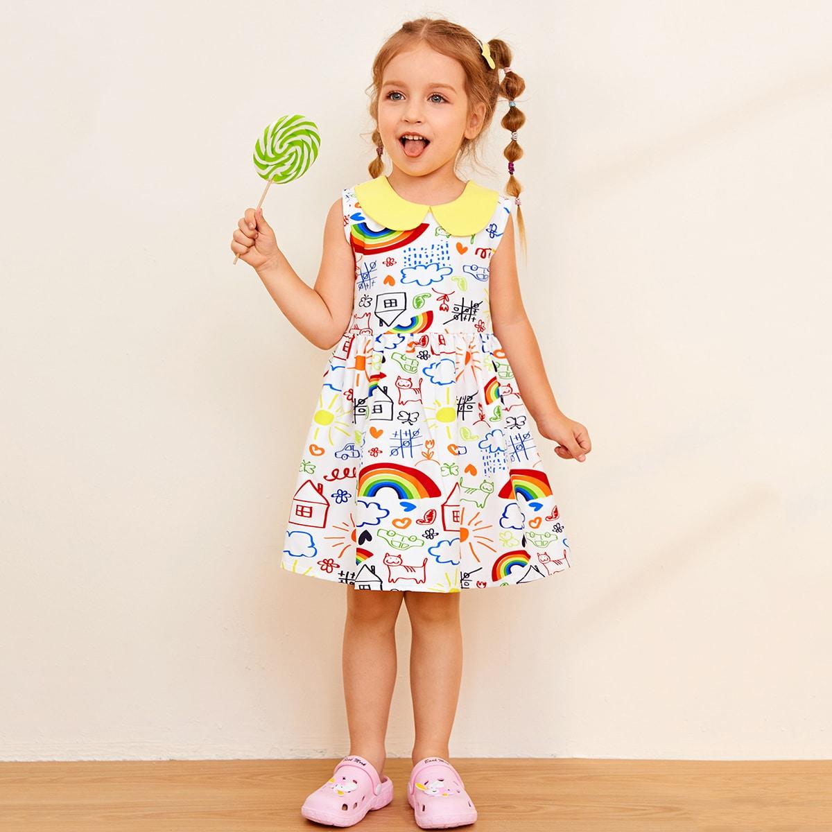 Toddler Girls Peter Pan Collar Cartoon Graphic Dress