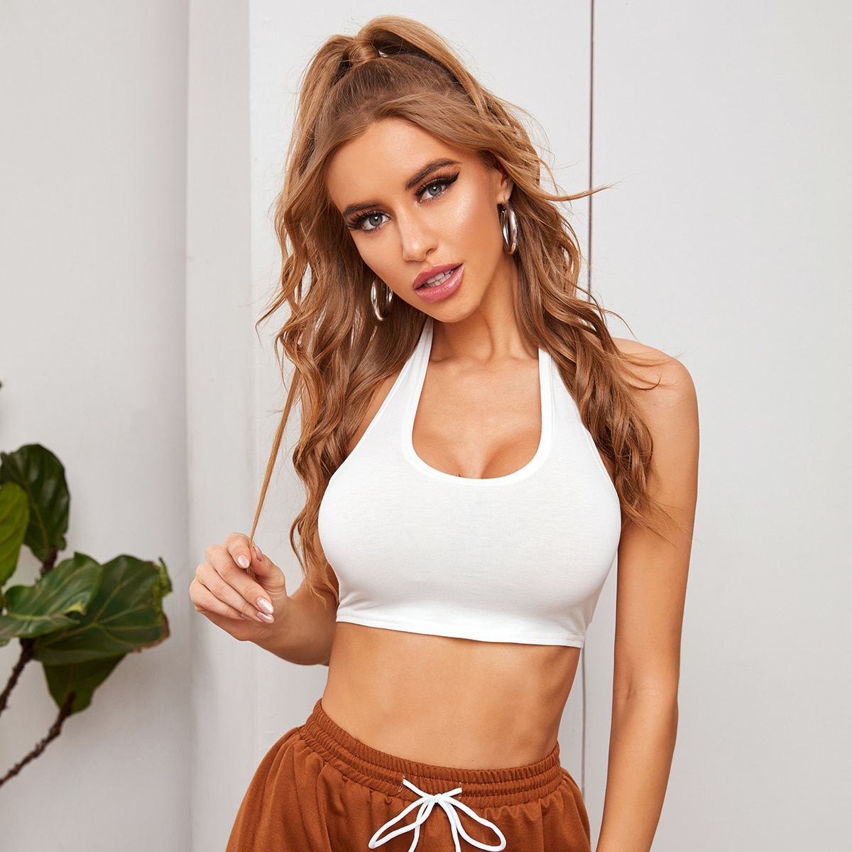 Tied Backless Crop Halter Top, SHEIN  - buy with discount