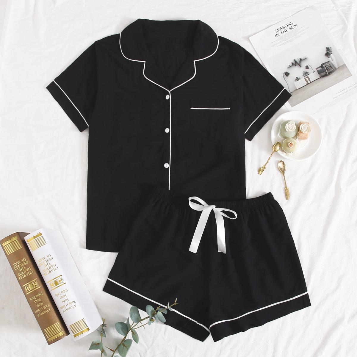 Чёрные с карманами Повседневный Пижама