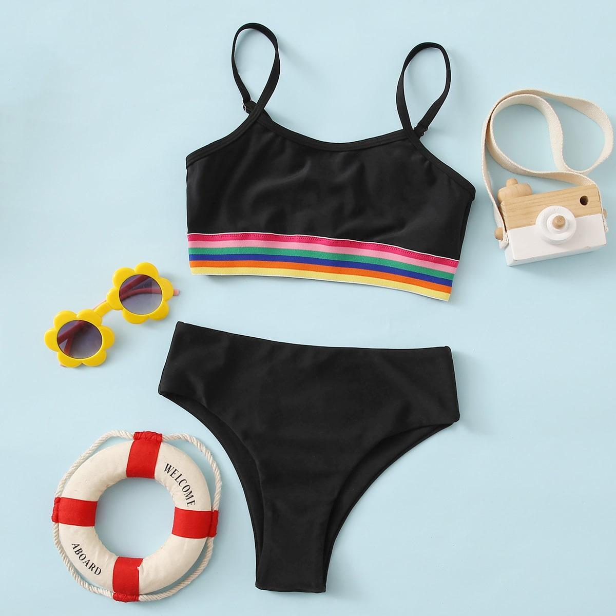 Черный радужные полосы милый купальники для девочек
