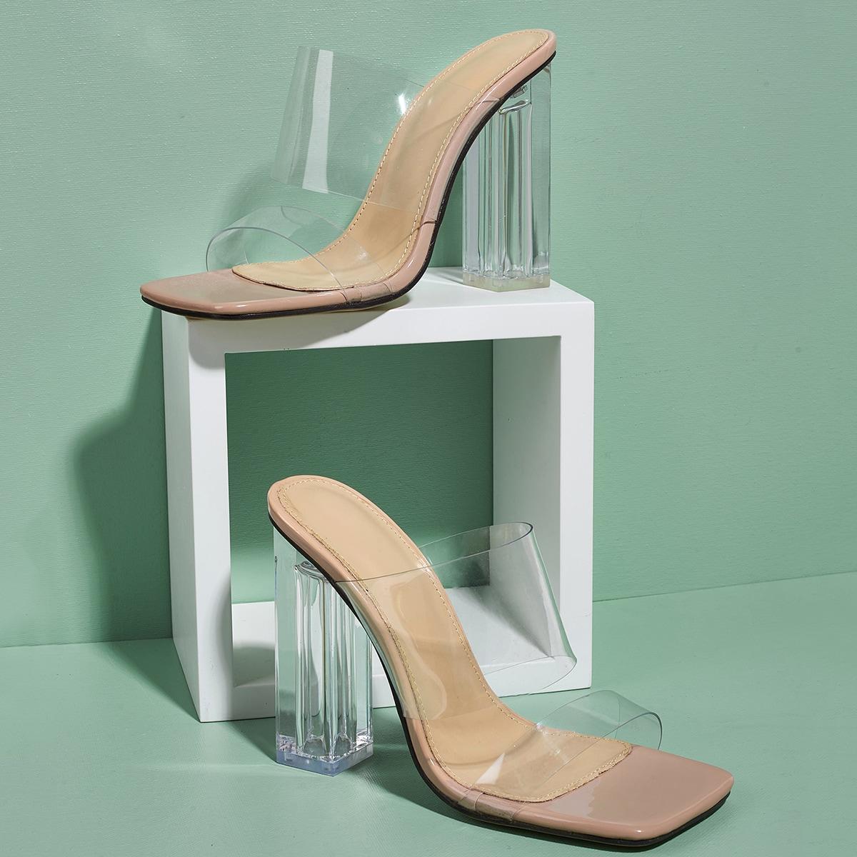 Прозрачные сандалии с массивным каблуком