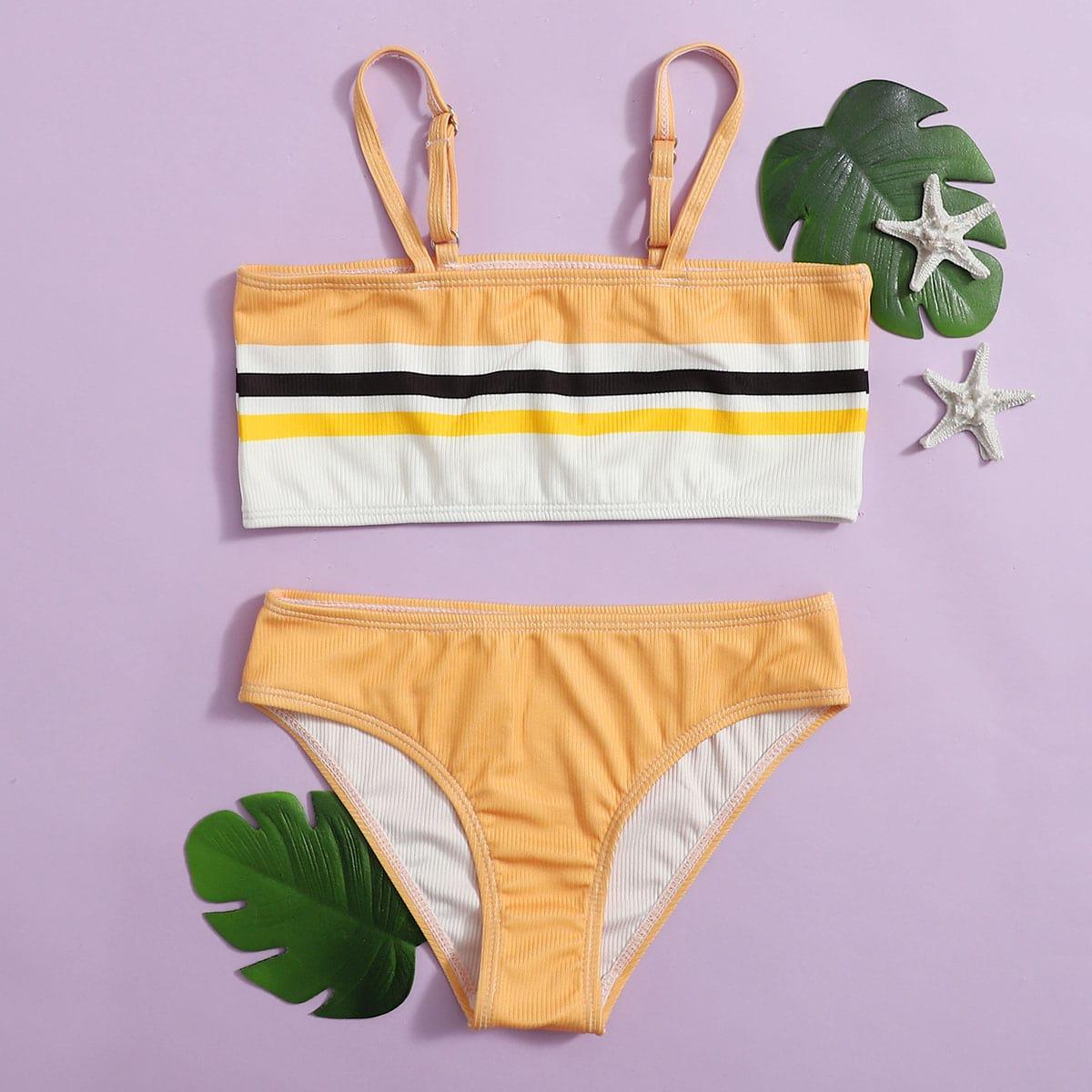 Желтый полосатый милый купальники для девочек