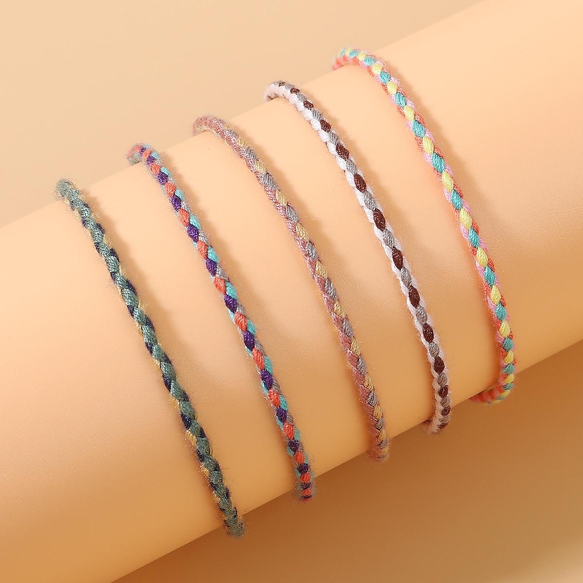 5шт красочный плетеный браслет