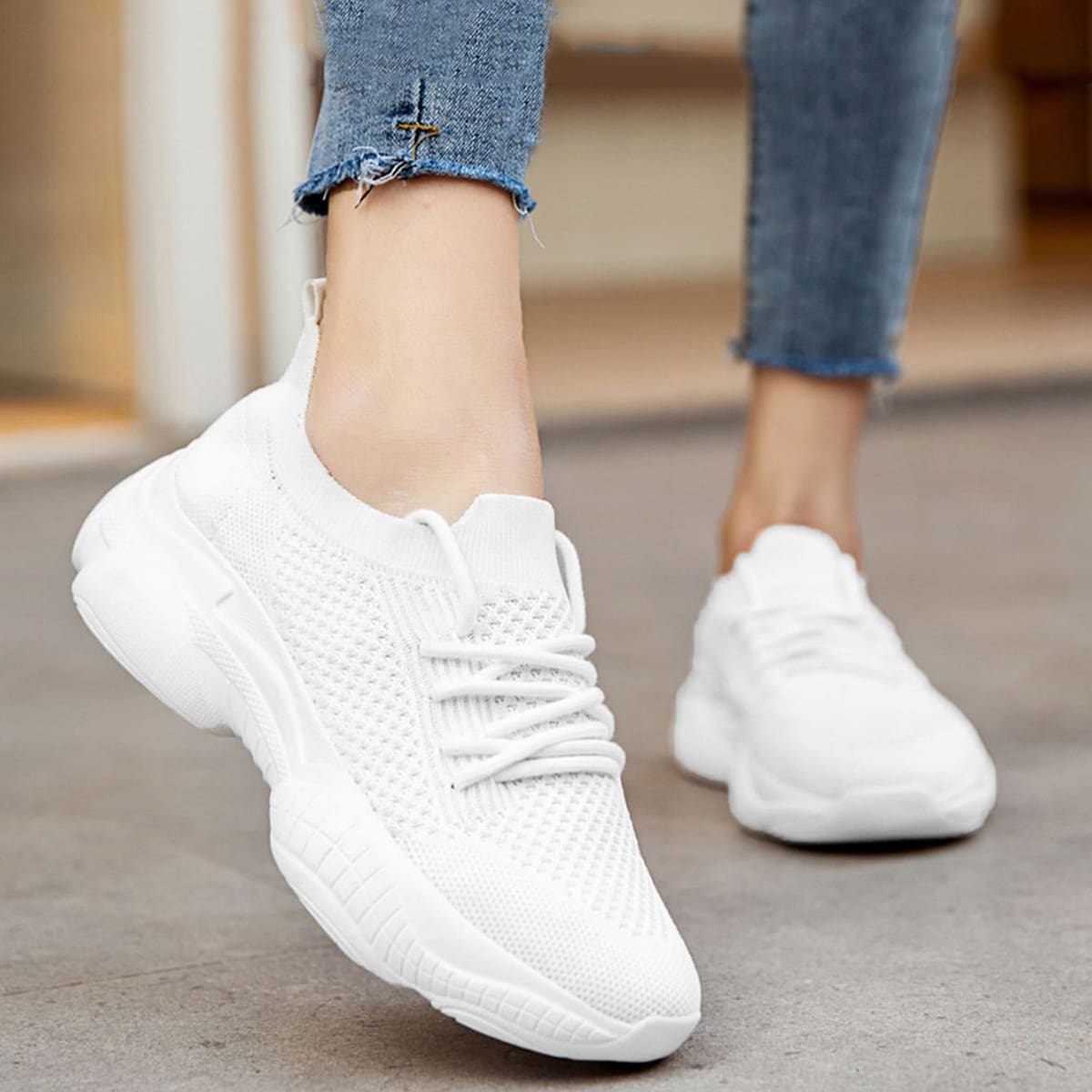 Lace-up Front Mesh Sneakers