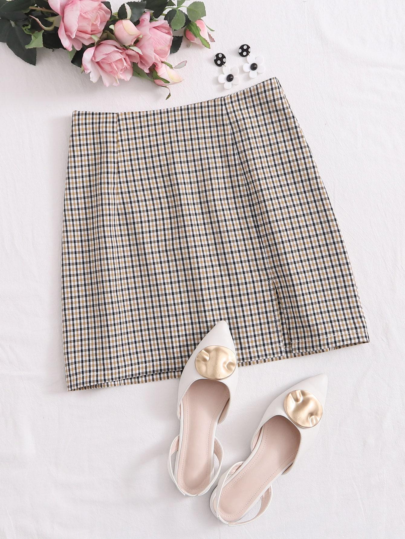 Split Hem Plaid Skirt thumbnail