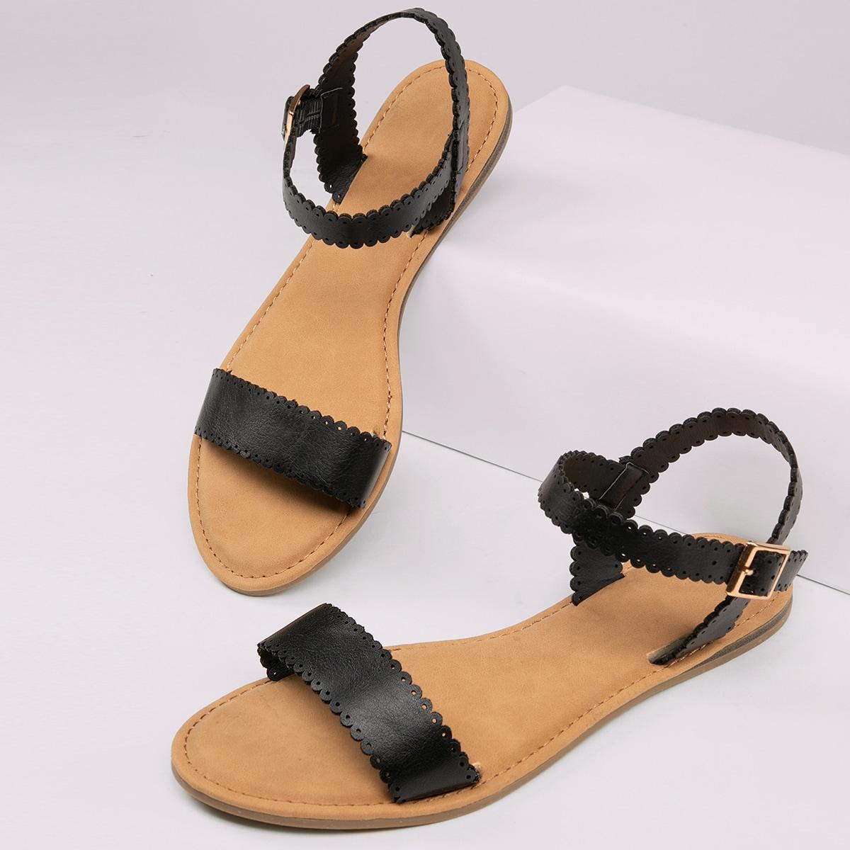 SHEIN / Scallop Trim Open Toe Sandals BLACK