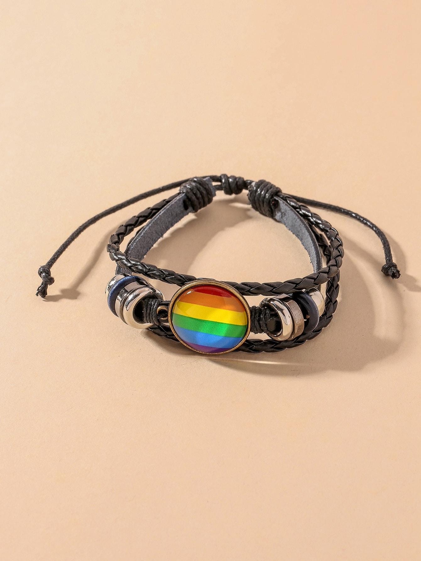 Rainbow Stripe Pattern PU Leather Bracelet thumbnail