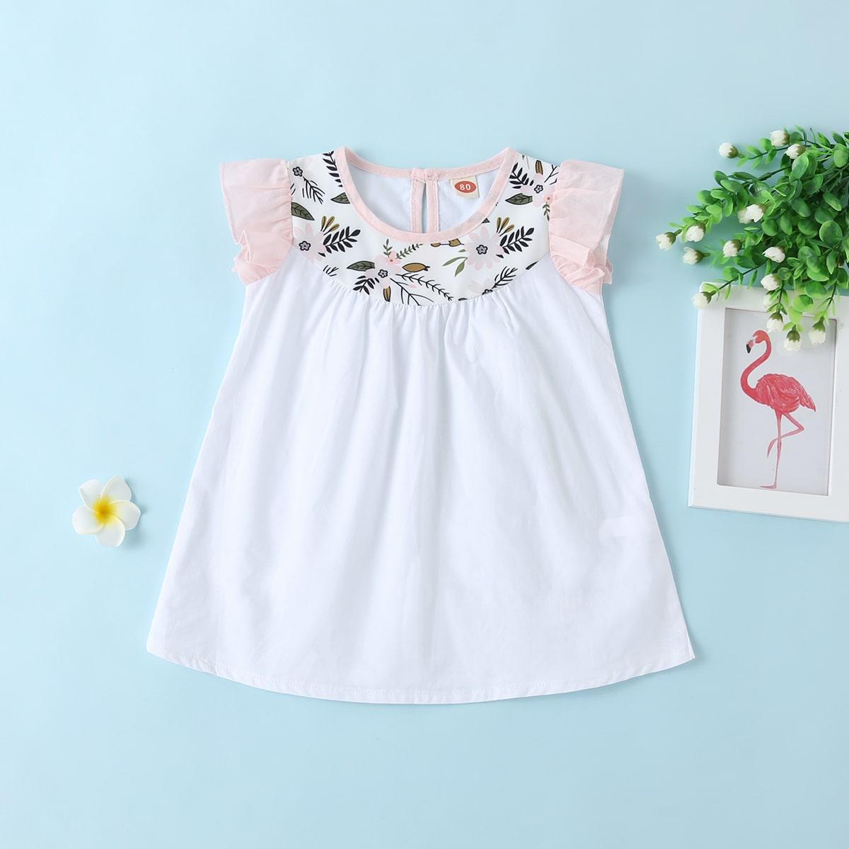 Белый Контрастная отделка Цветочный принт Повседневный Платья для малышей от SHEIN