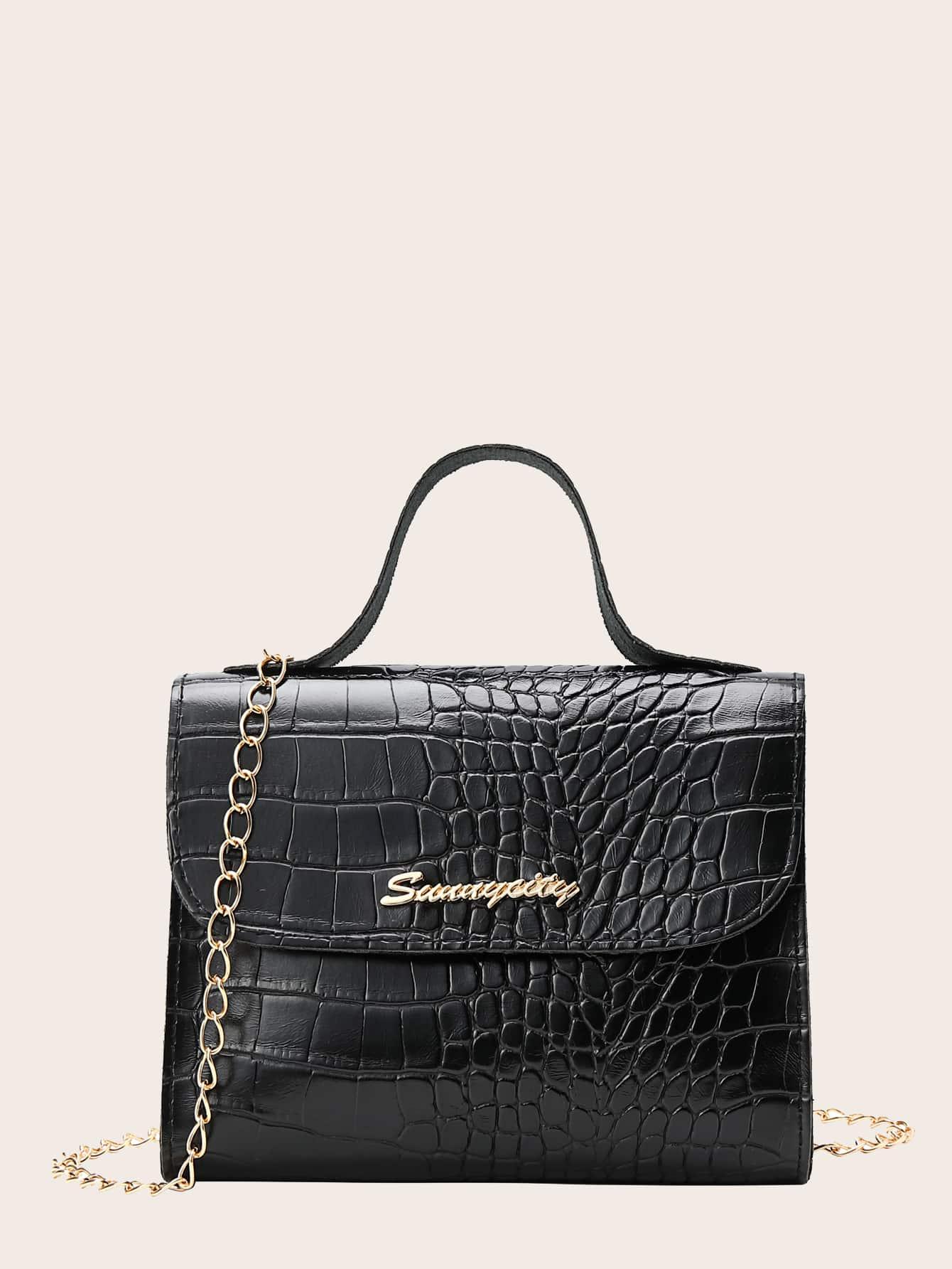 girls croc embossed flap satchel bag