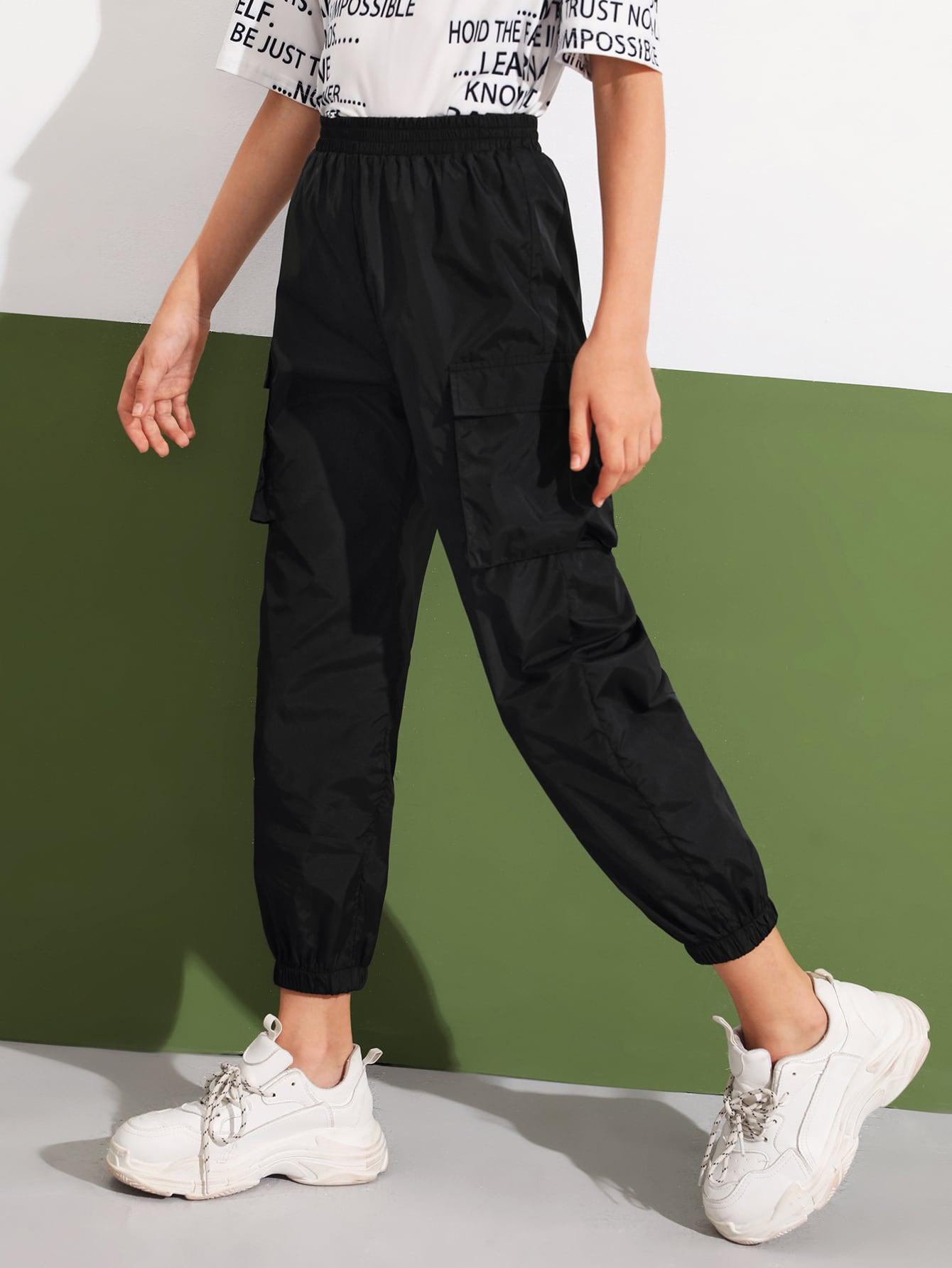Girls Flap Pocket Patched Wind Pants