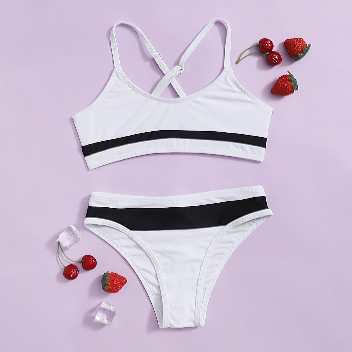 Чёрнобелые контрастный цвет спортивный купальники для девочек
