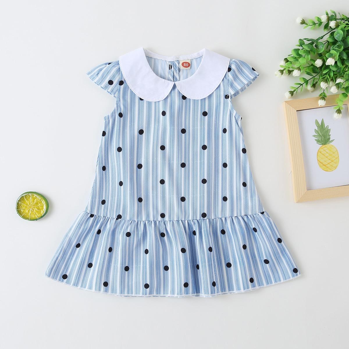 многоцветный Низ-оборка В горошек Повседневный Платья для малышей от SHEIN