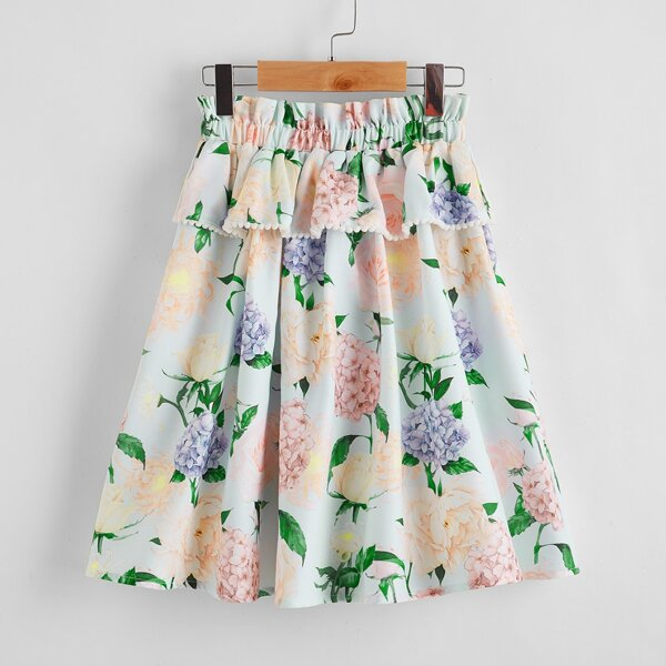 Girls Paperbag Waist Layered Detail Floral Skirt, Multicolor
