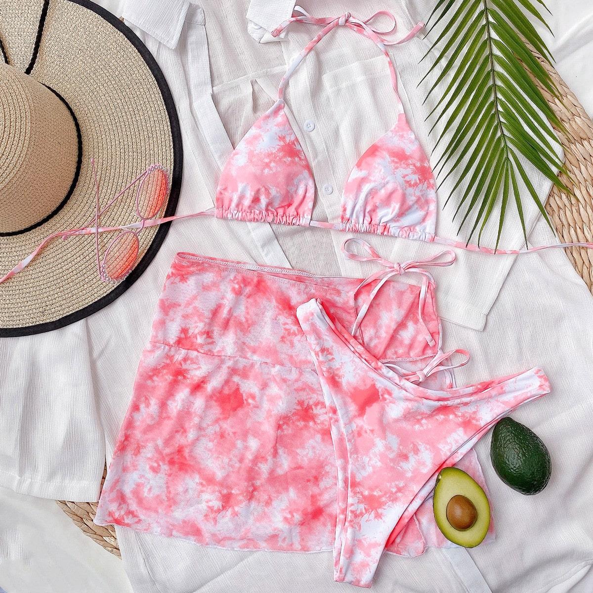 Разноцветное бикини и пляжная юбка 3шт