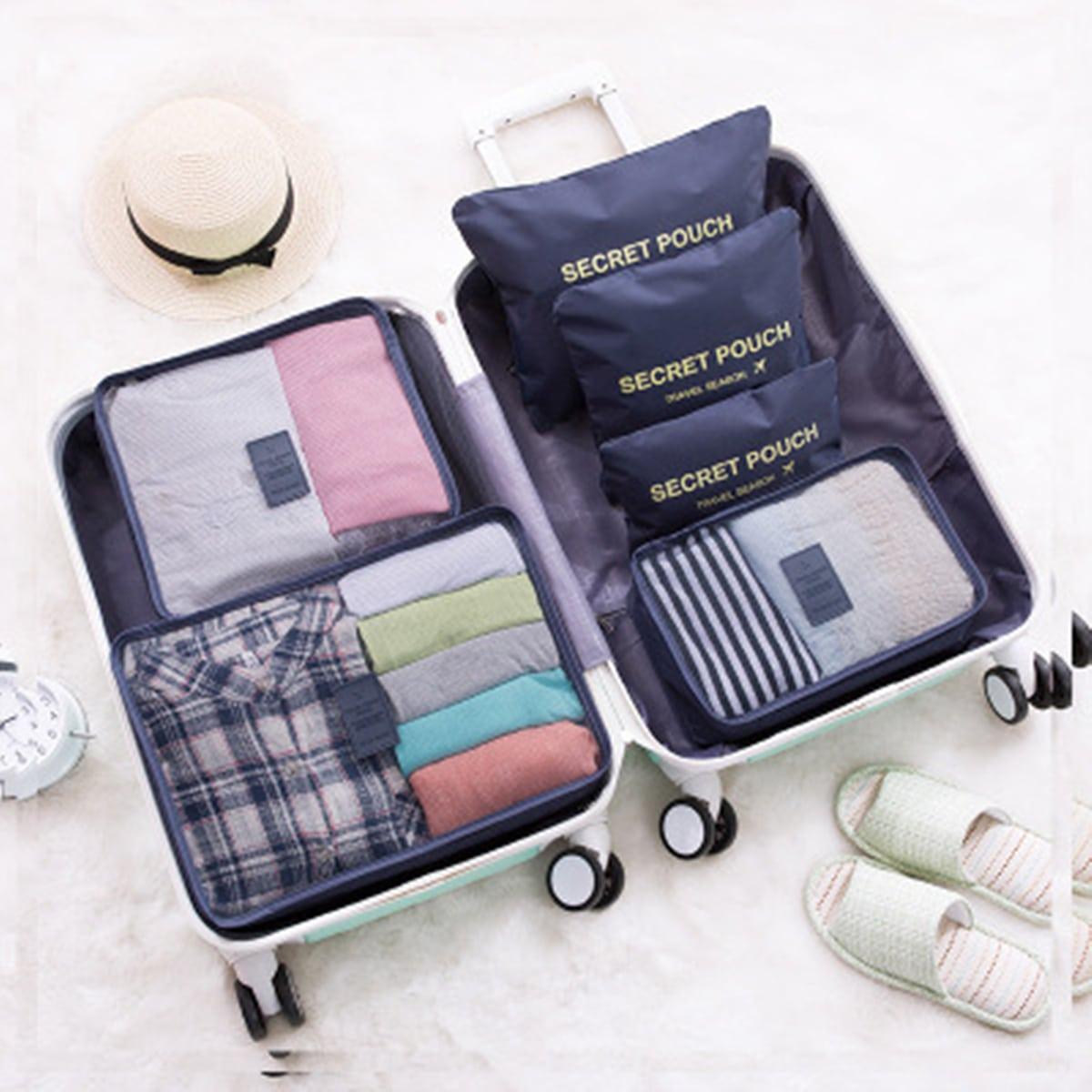 6 pezzi borsa di stoccaggio da viaggio con slogan grafico