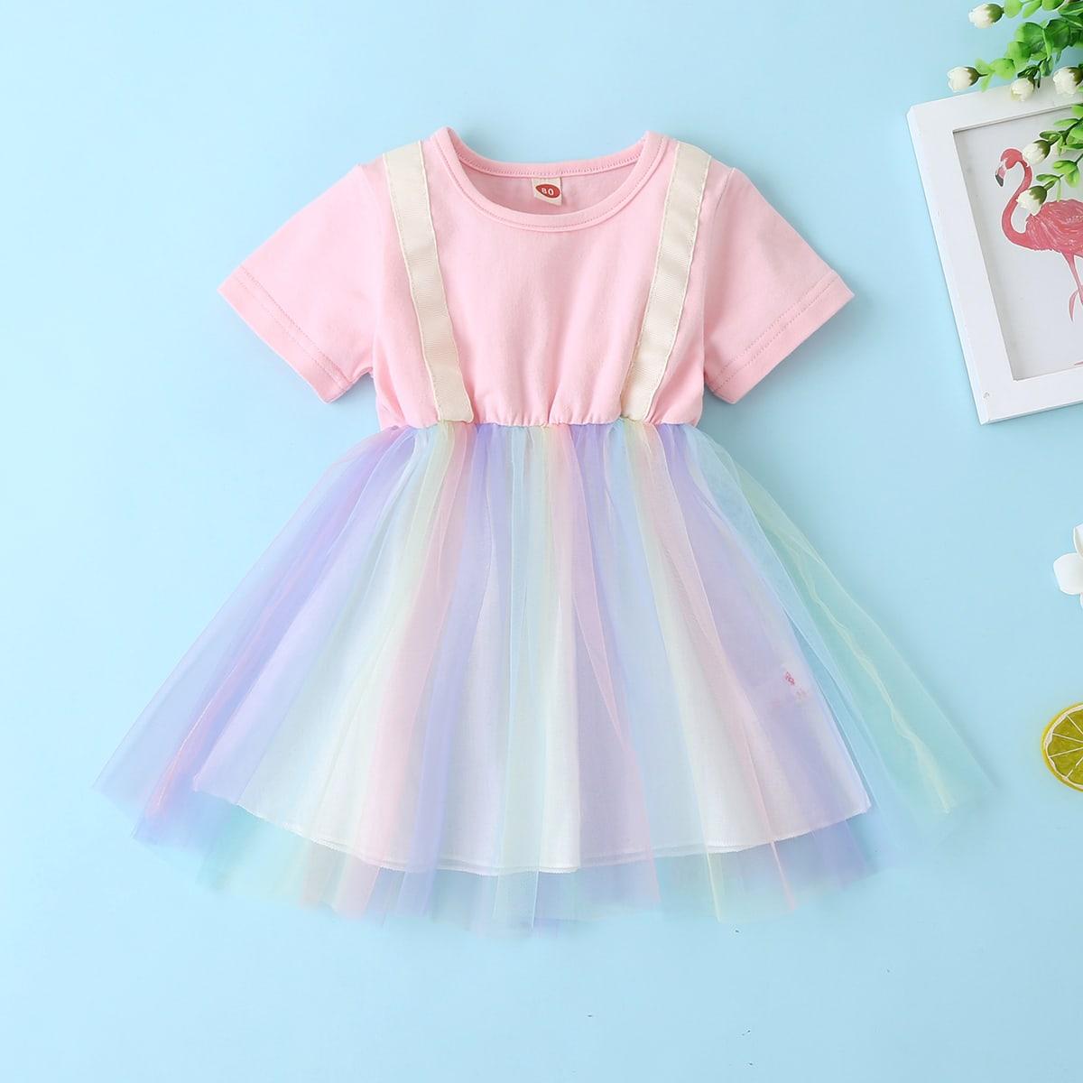 многоцветный Контрастная сетка Контрастный цвет милый Платья для малышей от SHEIN
