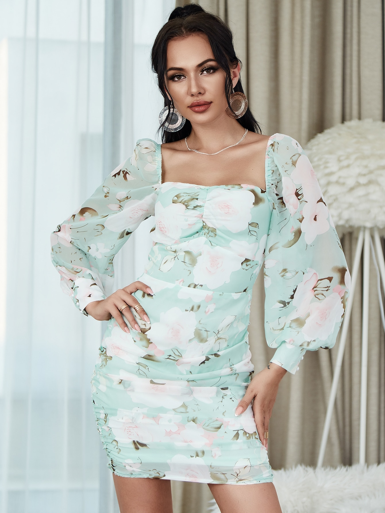 Square Neck Lantern Sleeve Ruched Floral Dress thumbnail