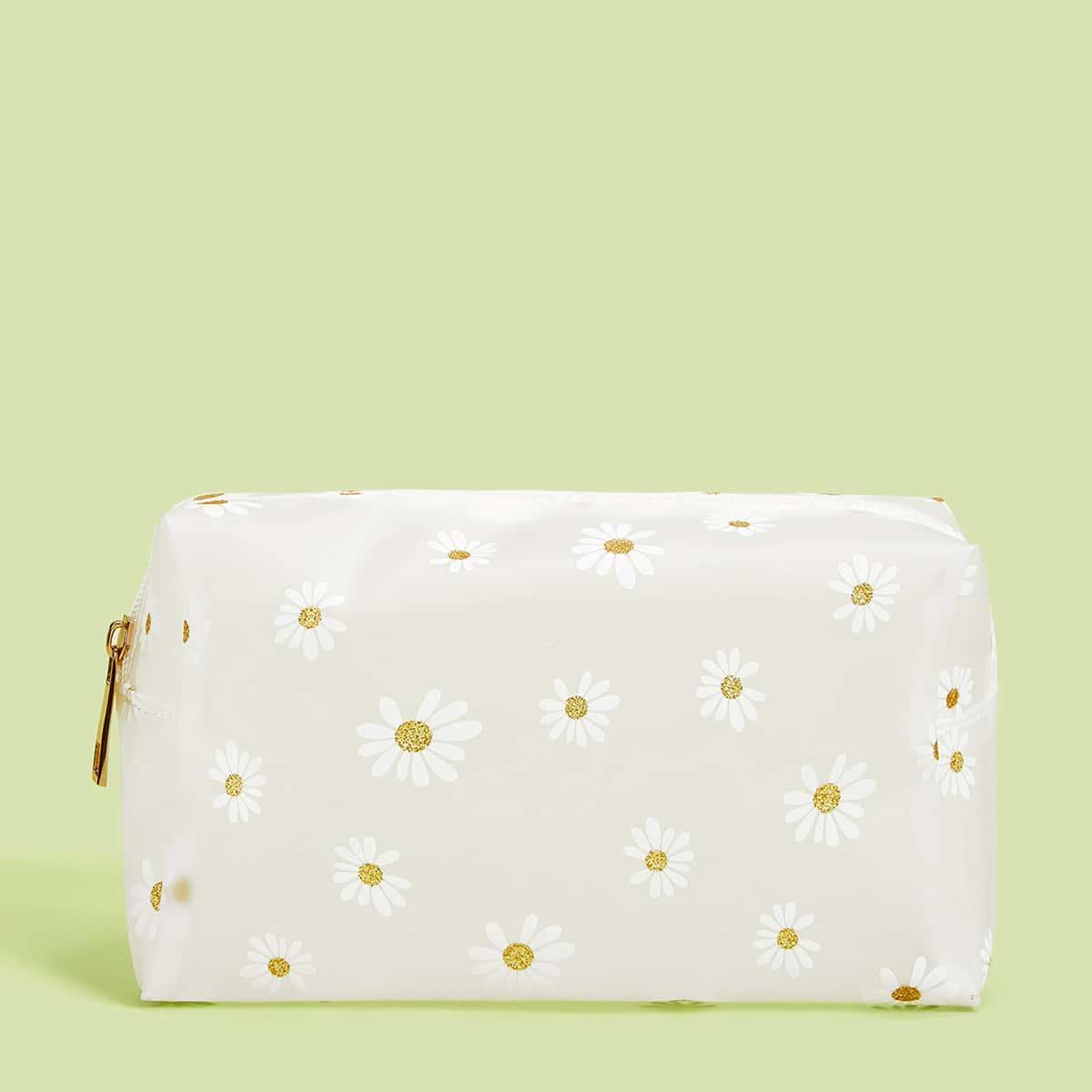 1шт косметическая сумка с цветочным принтом