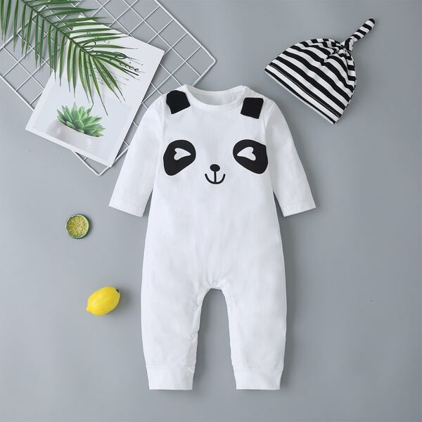 Baby Boy Panda Graphic Button Jumpsuit With Hat, White