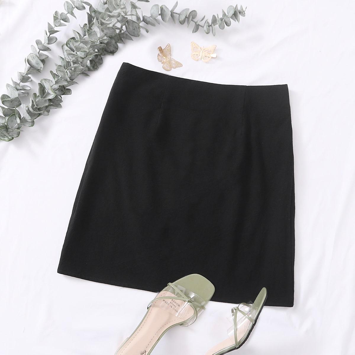 Однотонная юбка с молнией