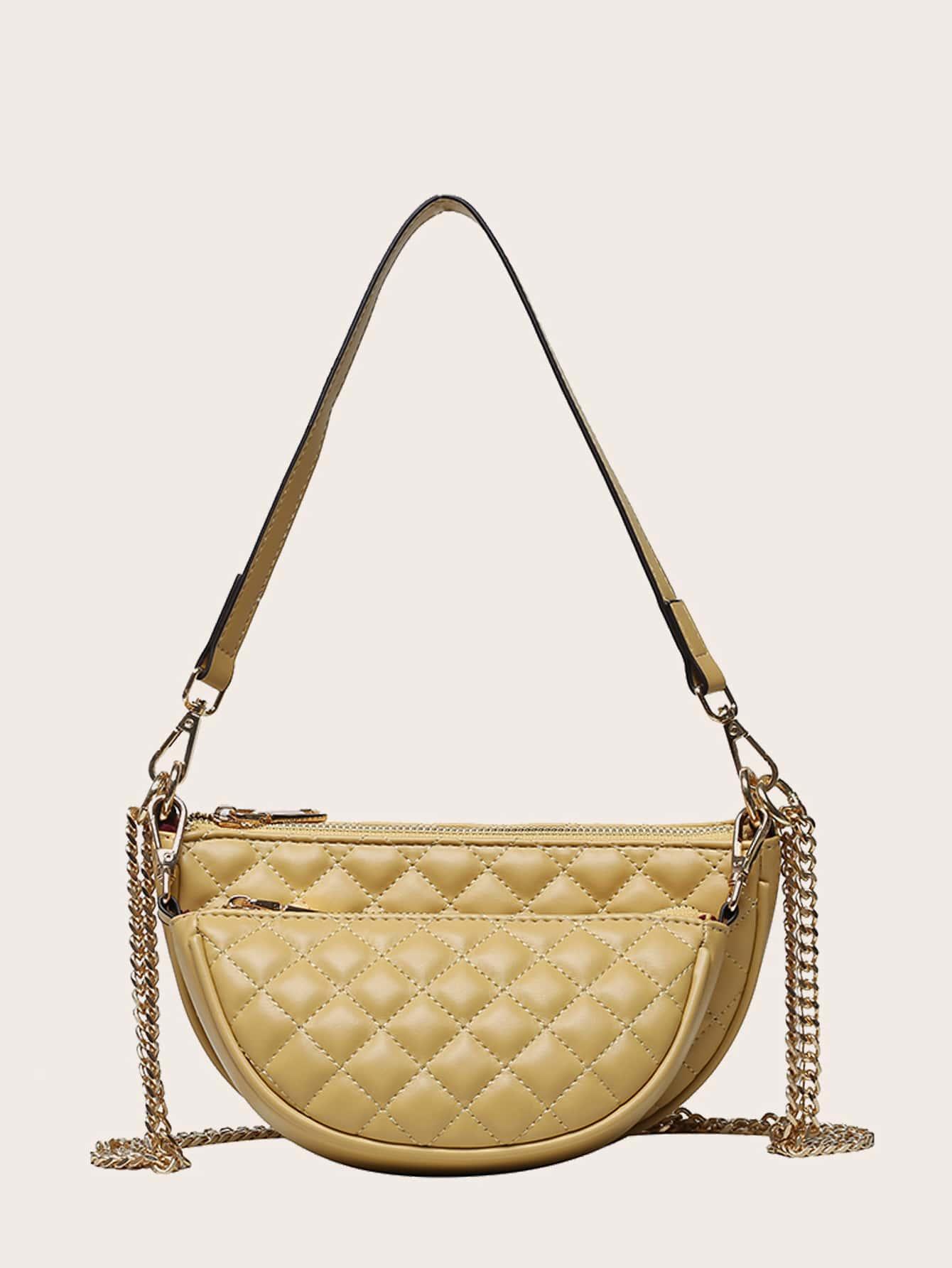 Стеганая сумка-багет с внутренней сумкой224