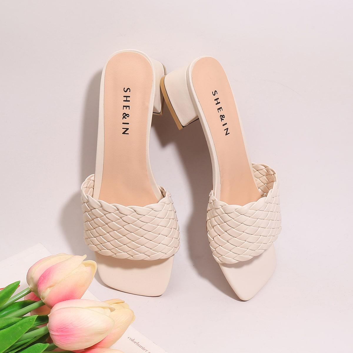 Плетеные сандалии с массивным каблуком